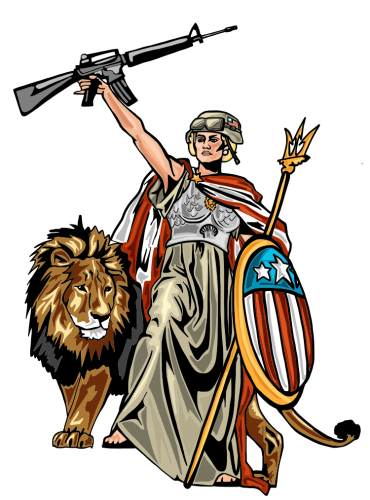 Cartoon of Lady Liberty holding a rifle, with a lion behind her.